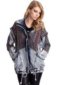 Oversized Aztec Denim Coat