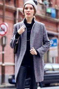 Stand Collar Grey Coat