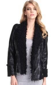 Gezuckt Shearling Collar Black Jacket
