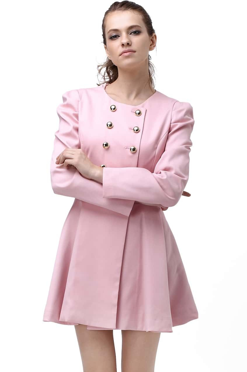 Double-breasted Skirt Hem Design Pink Trench-coat