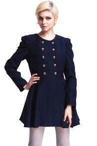 ROMWE Double-breasted Pleated Blue Coat