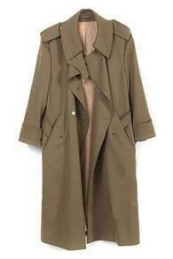 Fitted Belt Pockets Camel Trench Coat