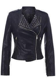 Leather-look Rivets Detailed Jacket