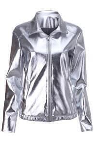 Silver Basic Leather Jacket