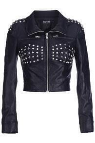 Riveted Black Faux Leather Jacket