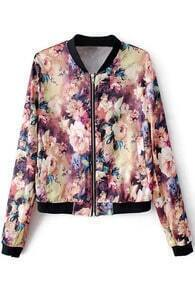 Floral Print Zippered Red Jacket