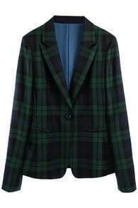 Check Single-breasted Green Blazer