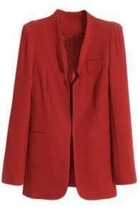 V-neck Slim  Pocketed Red Blazer