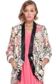 Contrast Trimming Buttonless Floral Print Blazer
