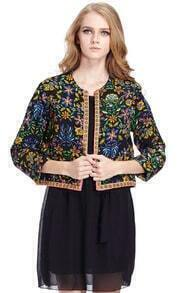 ROMWE Retro Floral Cropped Quilt Jacket
