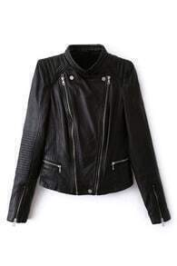 ROMWE Asymmetric Striped Zippered Black Jacket