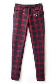 ROMWE Check Print Zippered Red Slim Pants