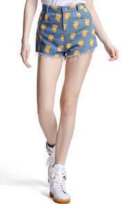 Simpson Print Denim Shorts