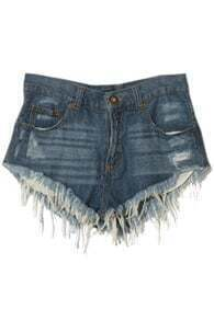 Frayed Hem Threadbare Style Denim Shorts