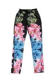 Retro Floral Print Skinny Pants