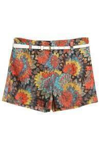 Hollowed Flower Printed Yellow Shorts
