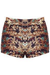 Colorful Sequin-Deco Shorts