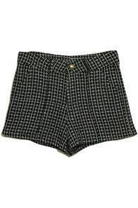 High-Waist Lattice Black Shorts