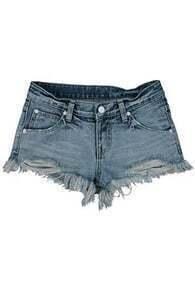 Shredded Blue Denim Shorts