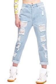 Distressed Light Blue Jeans