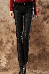 Dual-tone Check Slim Black Pants