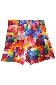 Colourful Latticed Slim High-waist Shorts