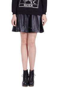 Riveted Pleated Faux Leather Black Skirt