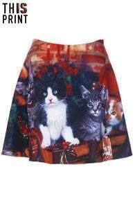This Is Print Christmas Cats Print Skirt