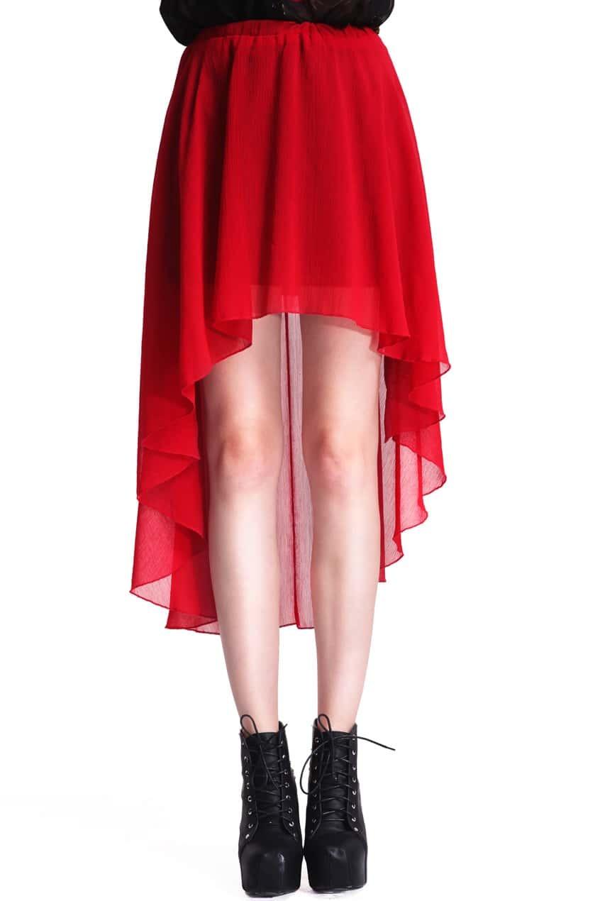 Anomalous Hem Red Skirt