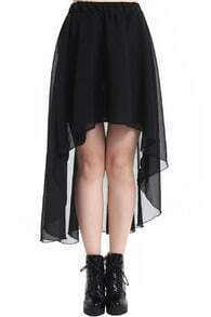 Anomalous Hemline Black Skirt