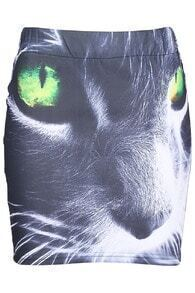 Elastic Waist Cat Head Design Skirt