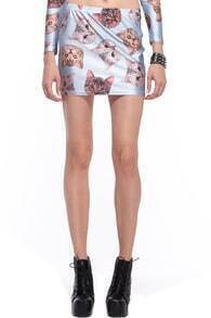 Cats' Heads Print Blue Skirt