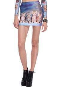 Five Cats Print Blue Skirt