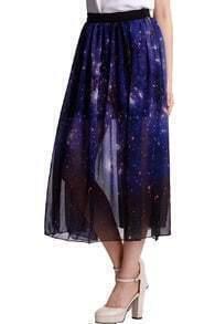 Galaxy Ziped Split Purple Skirt