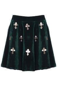 Dark Green Cross Velvet Skirt