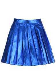 Blue Leather Pleated Skirt