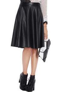 Simple Styled Black Faux Leather Skirt