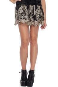 Baroque Embroidered Black Skirt