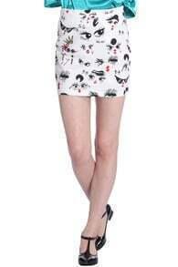 ROMWE Hand-painted Bodycon White Skirt