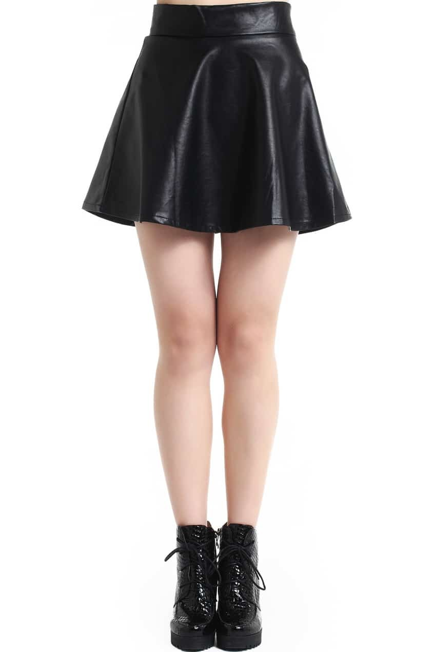 Pleated High Waist Black Slim Skirt