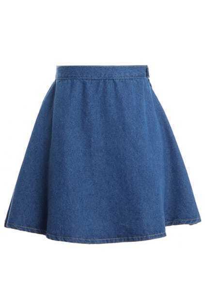 High Waist Dark Blue Denim Skirt