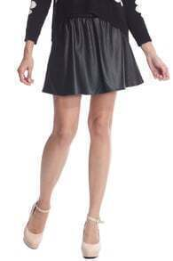 ROMWE Faux Leather Pleated Black Skirt