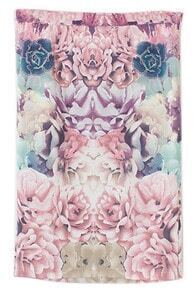ROMWE Floral Print Bodycon Pink Skirt