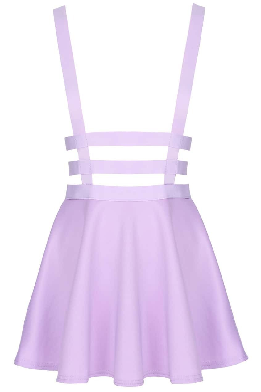romwe hollow out pleated zippered purple suspender skirt