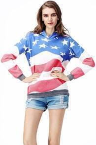 Flag Print Hooded Sweat Hoodie