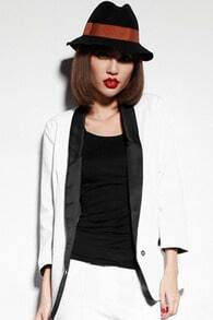 Color Block One Button White Blazer
