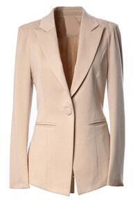 One Button Padded Shoulder Nude Blazer
