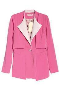 One Button Lapel Pink Blazer