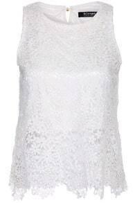 ROMWE Lace White Vest