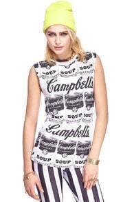 ROMWE Campbell Soup Print Sleeveless Vest
